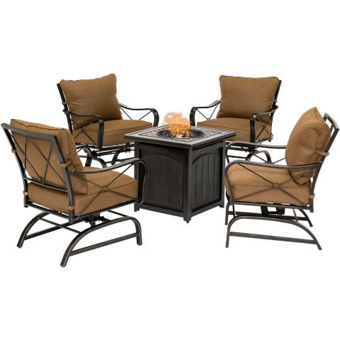 Hanover Summer Nights 5-Piece Fire Pit Chat Set in Desert Sunset with 4 Cross-Back Rockers and a 26-In. Square Fire Pit Table