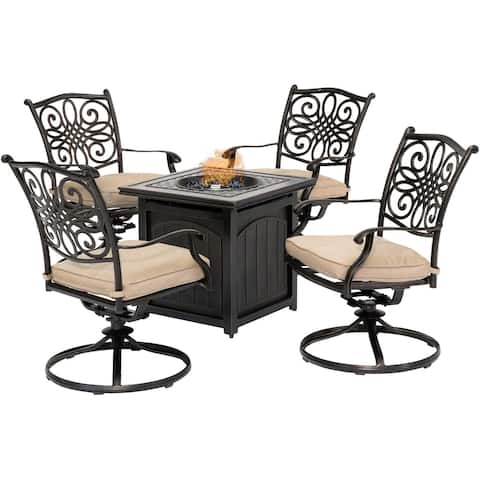 Hanover Traditions 5-Piece Fire Pit Chat Set in Natural Oat with 4 Swivel Rockers and a 26-In. Square Fire Pit Table