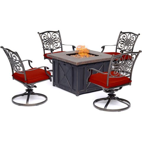 Hanover Traditions 5-Piece Fire Pit Chat Set in Red with 4 Swivel Rockers and a 40-In. Square Durastone Fire Pit Table