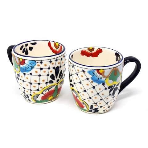Handmade Pottery Set of 2 Mugs, Dots & Flowers