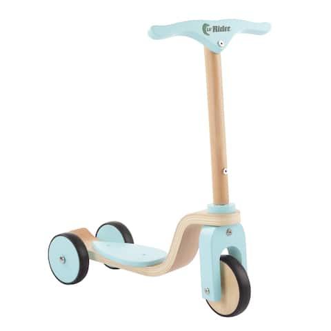 Kids Wooden Scooter-Beginner Push Steering Handlebar, 3 Wheel, Kick Scooter by Lil' Rider