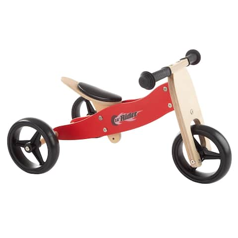 2-in-1 Wooden Balance Bike & Push Tricycle- Easy Grip Handles, No Pedals, Rubber Wheels, Ages 1-3 by Lil' Rider