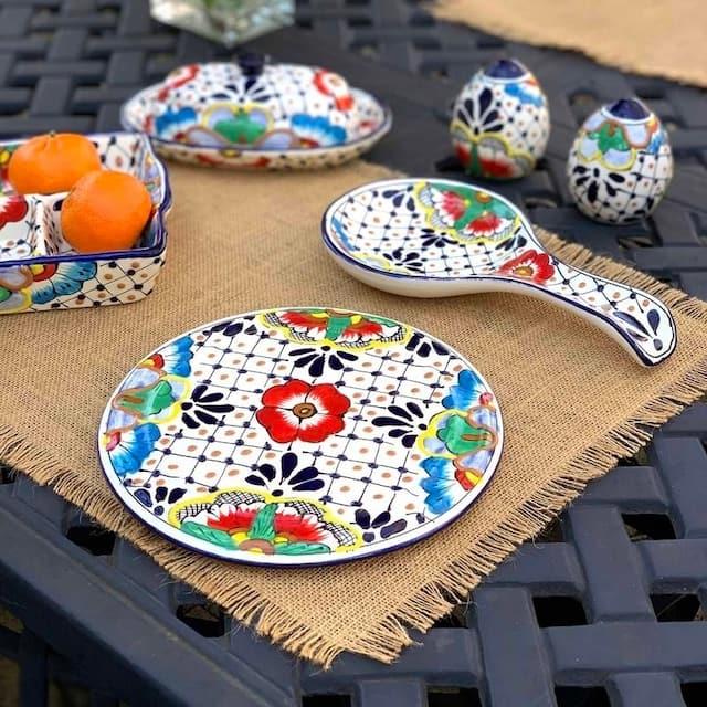 "Pottery 8"" Trivet, Dots & Flowers"