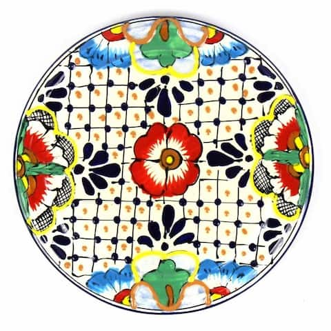 "Handmade Pottery 8"" Trivet or Wall Decor, Dots & Flowers"
