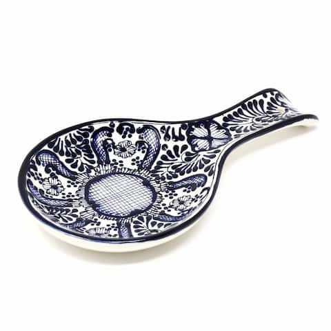 Handmade Blue Flower Pottery Spoon Rest (Mexico)