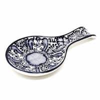 Handmade Pottery Spoon Rest, Blue Flower