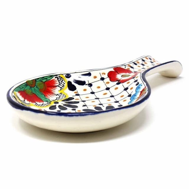 Pottery Spoon Rest, Dots & Flowers
