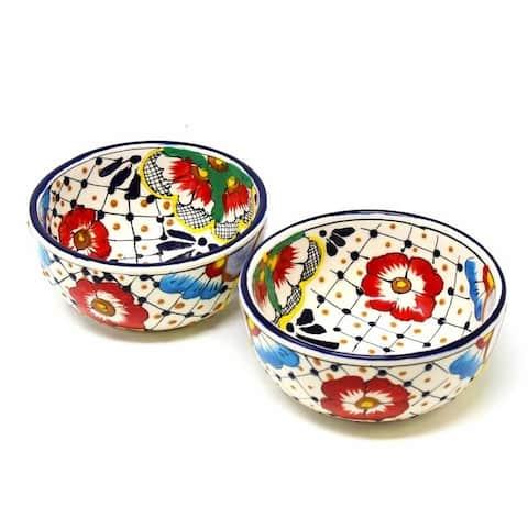 "Handmade Pottery 5.5"" Set of 2 Bowls, Dots & Flowers"