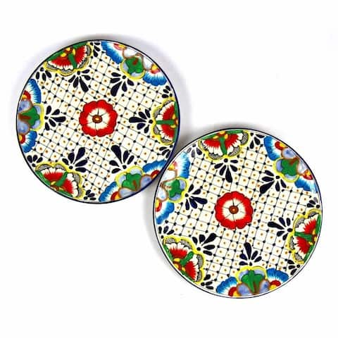 The Curated Nomad Somerset Handmade Floral Dots Dinner Plates (Set of 2)