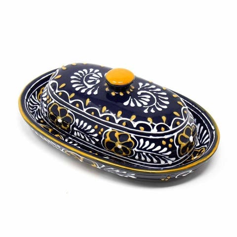 The Curated Nomad Somerset Handmade Blue Pottery Butter Dish