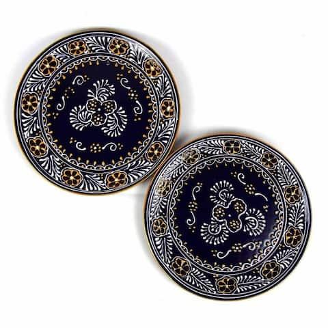 "Handmade Pottery 11.75"" Set of 2 Dinner Plates, Blue"