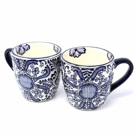 Handmade Pottery Set of 2 Mugs, Blue Flower