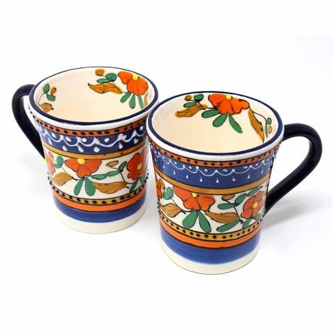Handmade Pottery Set of 2 Mugs, Orange Flower