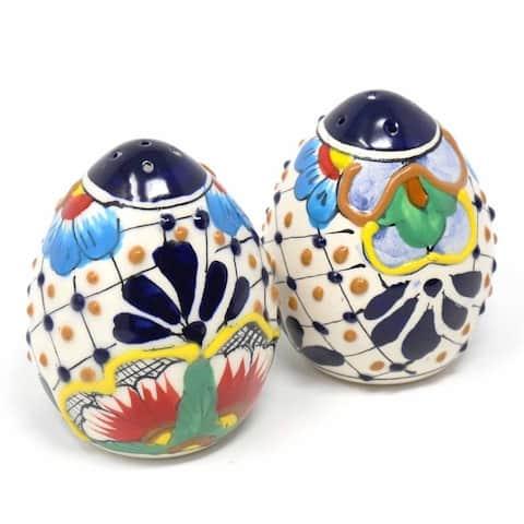 Handmade Pottery Salt & Pepper Shakers, Dots & Flowers