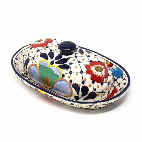 Handmade Pottery Butter Dish, Dots & Flowers