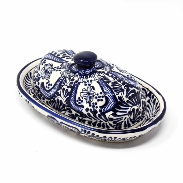 The Curated Nomad Somerset Handmade Blue Flower Pottery Butter Dish