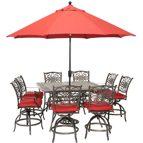 Traditions 9-Piece High-Dining Set in Red with 8 Swivel Chairs, a 60 In. Square Cast-Top Table, Umbrella and Stand