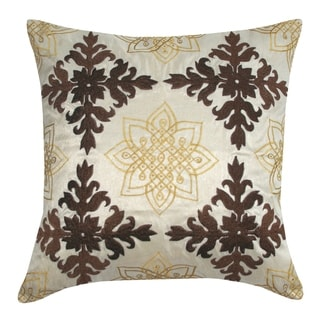 Divine Home Embroidered Medallion Throw Pillow