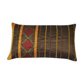Divine Home Embroidered Moroccan Lumbar Throw Pillow