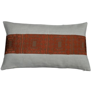 Divine Home Embroidered Panel Mozambique Lumbar Throw Pillow