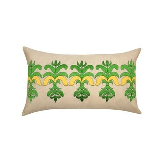 Divine Home Embroidered Bea Lumbar Throw Pillow