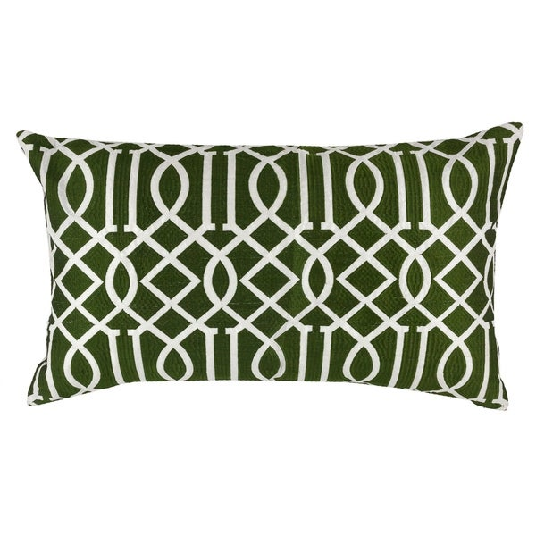 Divine Home Olive Green Embroidered Vail Trellis Lumbar Throw Pillow
