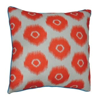 Divine Home Vibrant Red Ikat Circles Throw Pillow