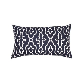 Divine Home Navy Blue Maira Lumbar Throw Pillow