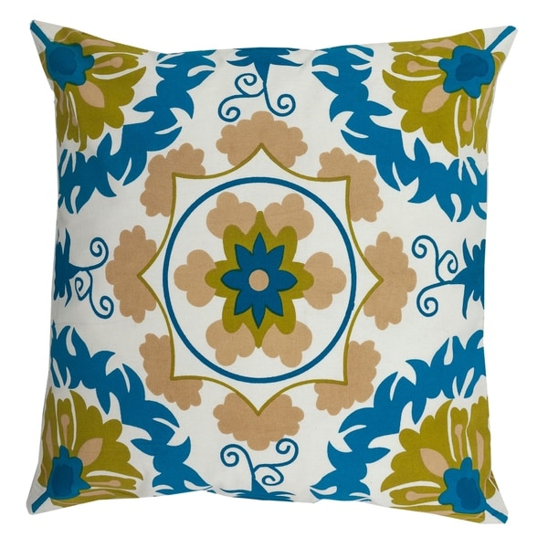 Divine Home Blue and Olive Patterned Throw Pillow