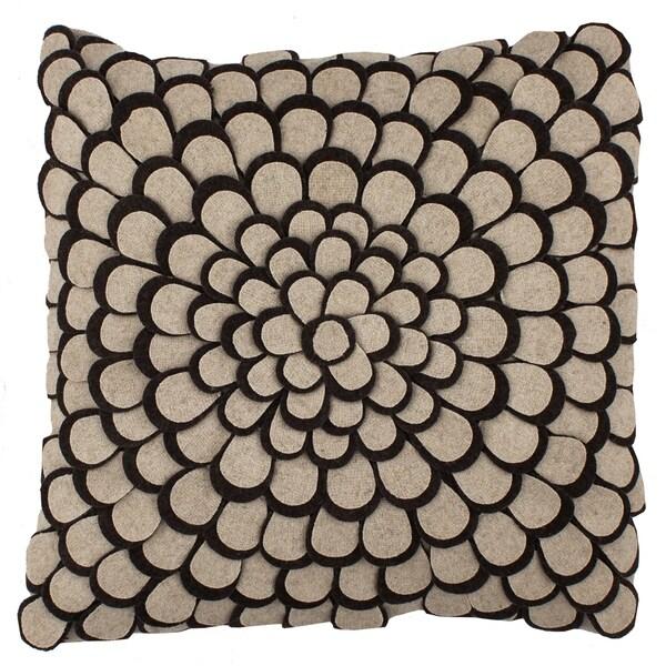 Divine Home Oatmeal and Chocolate Felt Appliqué 3D Petals Throw Pillow