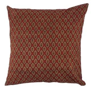 Divine Home Acorn Block Print Throw Pillow