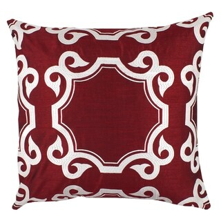 Divine Home Red Embroidered Avon Medallion Throw Pillow
