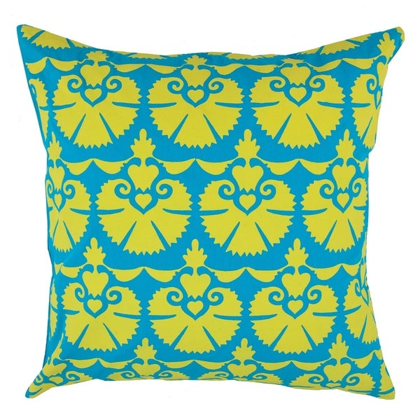Divine Home Blue and Lime Fan Throw Pillow