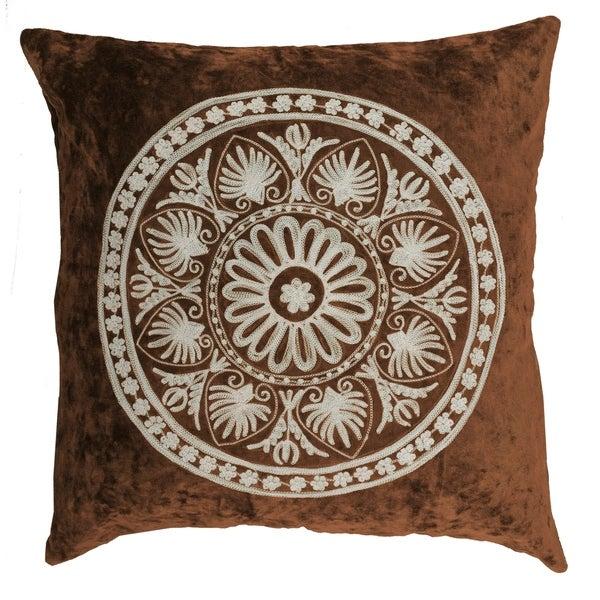Divine Home Chocolate Embroidered Surya Medallion Velvet Throw Pillow