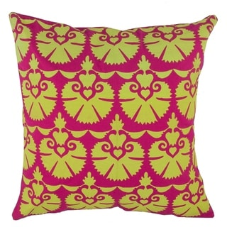 Divine Home Magenta and Lime Fan Throw Pillow