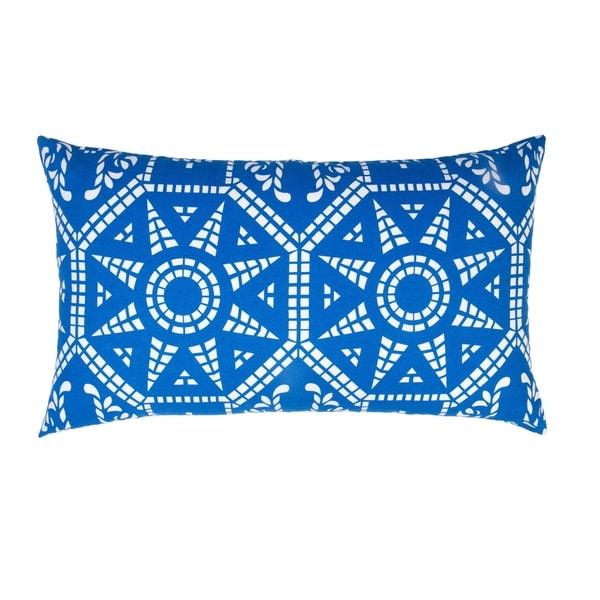 Divine Home Blue Mosaic Lumbar Throw Pillow