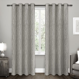 "ATI Home Forest Hill Woven Blackout Grommet Top Curtain Panel Pair 84"" In Ash Grey (As Is Item)"
