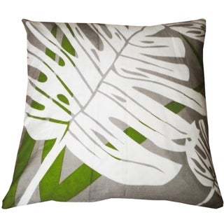 Divine Home Gray and Green Palm Leaf Throw Pillow