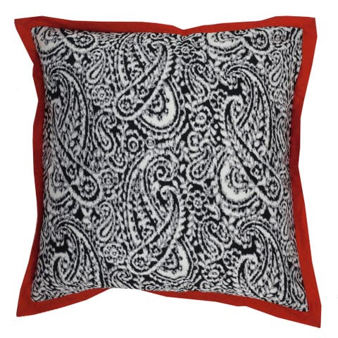 Divine Home Paisley Throw Pillow with Red Border