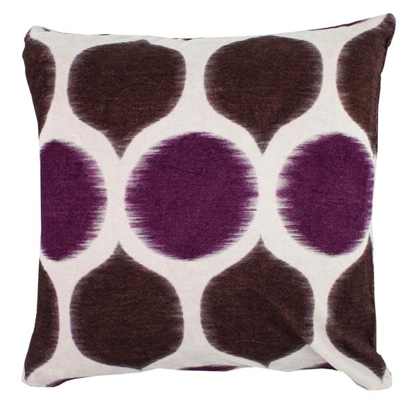 Divine Home Velvet Ikat Circles Throw Pillow