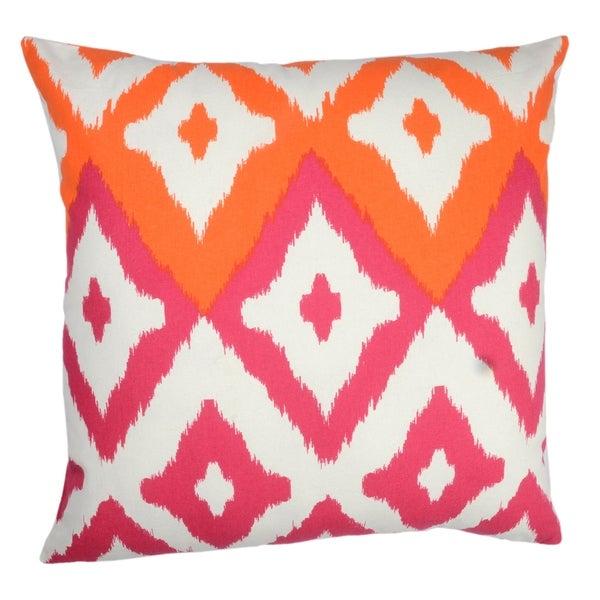 Divine Home Magenta and Orange Del Mar Ikat Throw Pillow