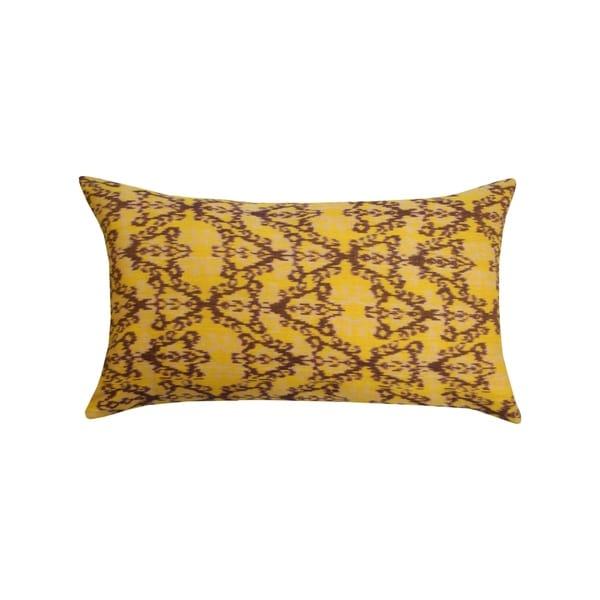 Divine Home Brown and Yellow Rani Ikat Lumbar Throw Pillow