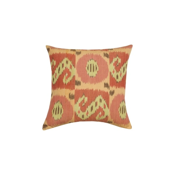 Divine Home Warm Sedona Ikat Throw Pillow