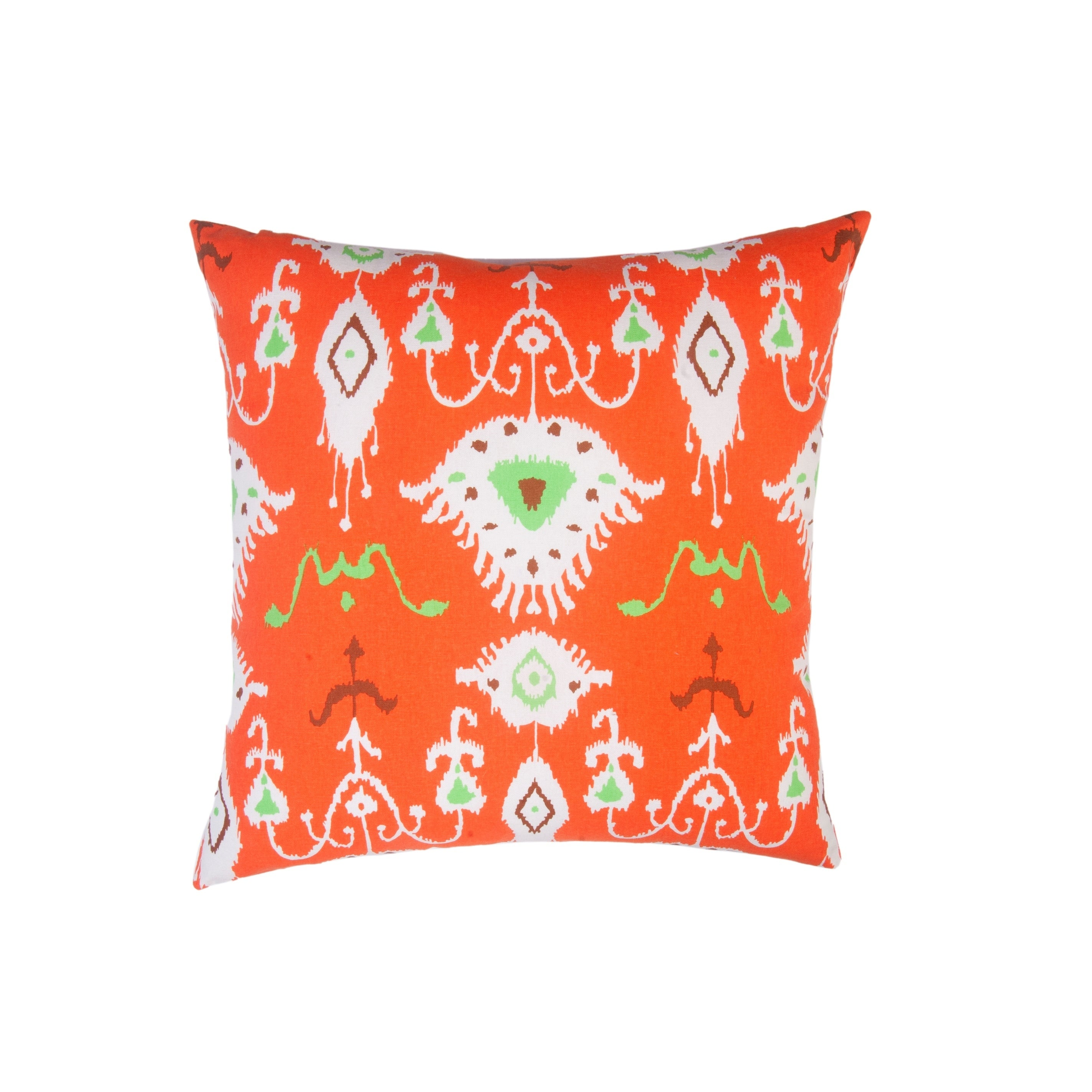 Shop Divine Home Orange Tribal Ikat Throw Pillow Overstock 28010881