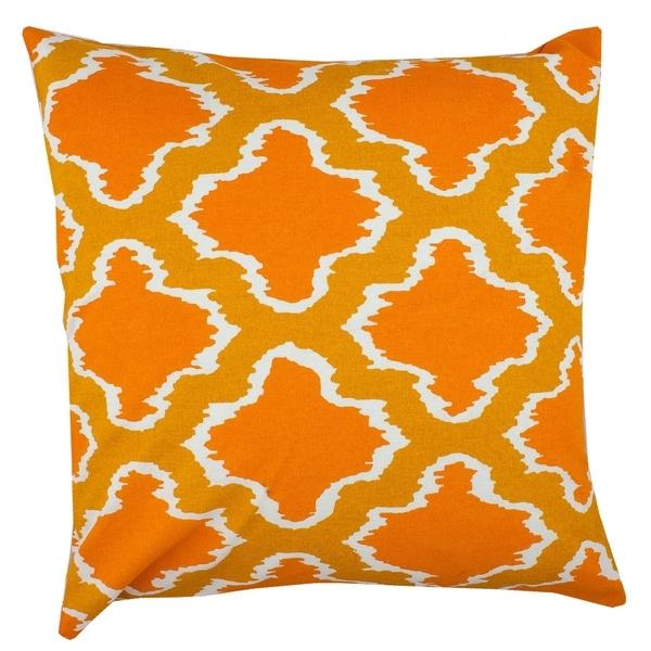 Divine Home Orange Ikat Throw Pillow