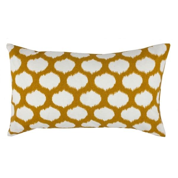 Divine Home Yellow Ikat Circles Lumbar Throw Pillow