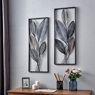 FirsTime & Co.® Metallic Leaves Wall Decor Set