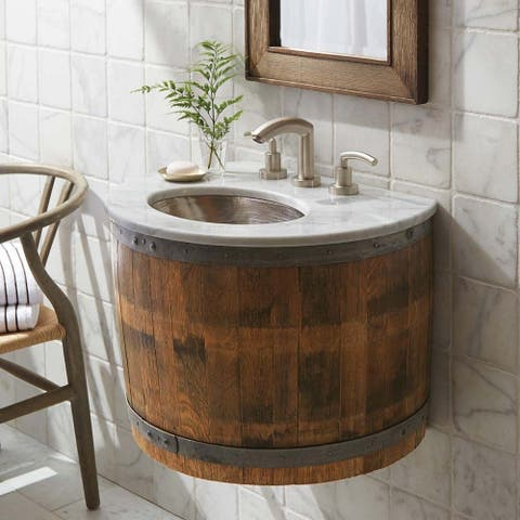 Native Trails Bordeaux Wall Mount Vanity Base with Carrara Marble Top
