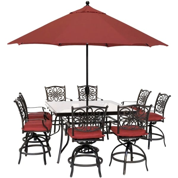 Traditions 9-Piece High-Dining Set in Red with 8 Swivel Chairs, a 60 In. Square Glass-Top Table, Umbrella and Stand