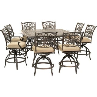 Traditions 9-Piece High-Dining Set in Tan with 8 Swivel Chairs and a 60 In. Square Cast-Top Table - N/A